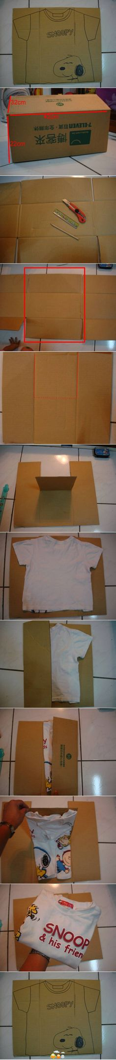 How to make an automatic T-shirt folder out of a cardboard box.