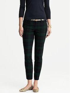 Plaid Skinny Ankle Jean via Banana Republic Perfect Black Watch Tartan (ish) pants for autumn!