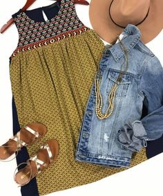 navy/mustard mixed media yoke dress | MOD Boutique | Western and Americana inspired outfit! Great for spring and summer.