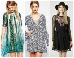 From left to right: Sequin fringe dress, ASOS, $137.57 [link: http://www.asos.com/ASOS/ASOS-T-shirt-Sequin-Fringe-Dress/Prod/pgeproduct.aspx?iid=4692586 ], Motel flare sleeve dress, ASOS, $77.04 [link: http://www.asos.com/Motel/Motel-Flare-Sleeve-Dress-With-Lace-Front-In-Egyptian-Blue-Tile-Print/Prod/pgeproduct.aspx?iid=4903646 ], Lace embroidered flippy dress, Topshop, $70 [link: ...