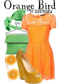 """Orange Bird"" by lalakay ❤ liked on Polyvore"