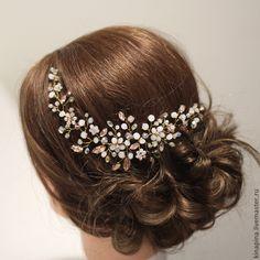 Купить Веточка для свадебной прически невесты.Свадебное украшение персиковое - свадебное украшение, свадебное для прически