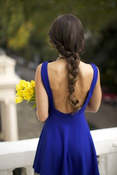 Bright blue dress with stunning low back - a sweet and simple hairstyle to match: Braid with a twist,