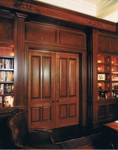 The heavy double doors to the library at Bridgedale Manor