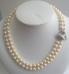 Vintage 14kt White Gold Diamond Two Strand Akoya Pearl Necklace 7mm | eBay