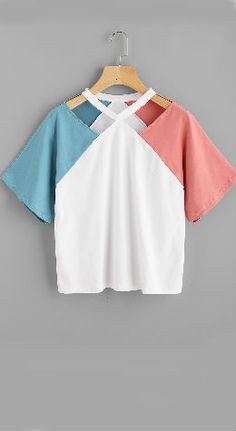 ab09ad61 Contrast Raglan Sleeve Cut Out Neck Tee Spot Popping, Cut Out Top, Pop  Fashion