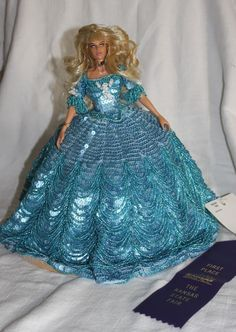 "12"" OOAK Southern Bell Baby-Blu Crochet Crocheted and Sequined, Beaded Hoop Gown"
