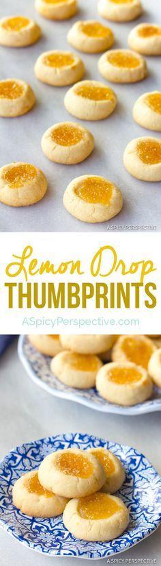 Perfect Lemon Drop Thumbprint Cookies Recipe | ASpicyPerspective.com