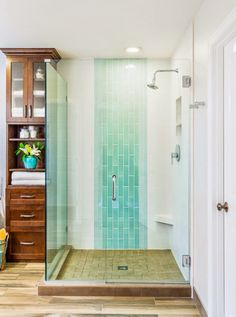 Design Harmony - two different accent tiles to add a pop of color in this gorgeous bathroom.  I'm also loving the soaking tub, sleek frameless glass shower and the porcelain tile flooring that looks like hardwood! Great storage here too.