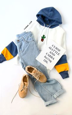 White Contrast Cactus Embroidery Drawstring Hooded Sweatshirt with blue denim and cozy sneakers from romwe.com