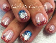 4th of July Red Silver and Blue Sparkle French Shellac Nails Christy @ Mane Tamers Mishawaka