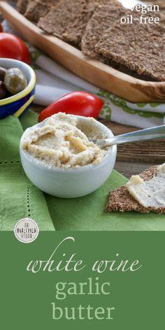 "5 ingredients, no oil, no gluten. Creamy and flavorful White Wine Garlic ""Butter."" Recipe on An Unrefined Vegan."