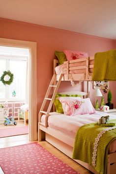 Kids Rooms: 28 Designs | House & Home  Pretty Preppy Palette  With beds this charming, two are better than one.    Decorating with pink can be overwhelming but here, apple green coverlets cut the sweetness of the wispy pink bedding. Using bunk beds means the girls sharing the bedroom have a dedicated adjacent play area.