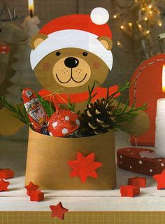 Christmas teddy paper craft pattern