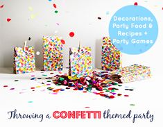 Decorations, Food & Games for a confetti themed party | Kids Parties | Kids Party Food