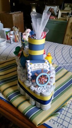 Diaper boat for nautical theme baby shower