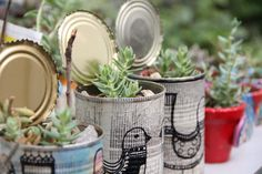 Laralá - Un sitio, mil ideas Tin Can Alley, Altered Bottles, Industrial Chic, Altered Art, Terracotta, Flower Pots, Cactus, Upcycle, Planter Pots