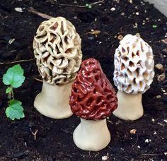 Handmade ceramic mushrooms by Alex Gardner by FabulousFungi Mushroom Decor, Mushroom Art, Garden Stakes, Garden Art, Fall Canvas Painting, Garden Mushrooms, Handmade Ceramic, Fungi, Garden Sculpture