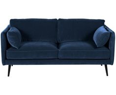 Samtsofa Paola 2 Sitzer Aus Samt In Schwarz Blau Westwingnow Samt Sofa Sofa Und Samt