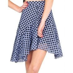 Kendall + Kylie Asymmetrical Fit and Flare Skirt ($111) ❤ liked on Polyvore featuring skirts, blue skirt, blue gingham skirt, laser cut skirt, gingham skirt and asymmetrical skirts