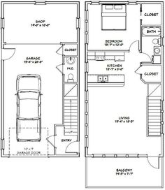 """These are PDF files and are available for instant download.1 bedroom, 1.5 bath home with 1 car garage. It has a microwave over range, apartment sized fridge, laundry center machine in bath room, and a spacious shop.Sq. Ft: 1,053 (307 1st, 746 2nd)Building size: 20'-0"""" wide, 48'-0"""" deep (including balcony)Main roof pitch: 8/12Ridge height: 24'Wall heights: 8'Foundation: SlabLap sidingFor the reverse plan, please see Model 6E.This plan includes:ElevationsExterior / Interior Dimension… Plan Garage, Garage House Plans, Small House Plans, House Floor Plans, The Plan, How To Plan, Garage Apartment Plans, Garage Apartments, Inspiration Design"""