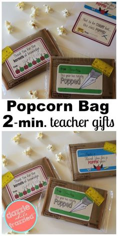 Free popcorn bag teacher appreciation printables for 2-minute DIY end of school year teacher gift. End of school year gifts for teachers from students to make at home. #teacher #teachergifts #teacherappreciation #popcorn #easydiy #diygifts #craftymom #diybag
