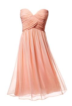Brides.com: 12 Ideas for a Pink and Citrus Summer Wedding. Keep your girls cool in light fabrics like cotton and chiffon.    Chiffon bridesmaid dress, $178, Donna Morgan Bridesmaids    See more pink bridesmaid dresses.