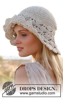 "Dune Hat - Free Crochet hat with fan pattern in ""Muskat"". ~ DROPS Design. 2 sizes. Dk yarn, 4mm hook. Lots of languages."