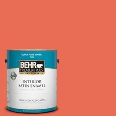 BEHR Premium Plus 1-gal. #190B-6 Wet Coral Zero VOC Satin Enamel Interior Paint-730001 at The Home Depot. Ah- Here we go. The right amount of paint in the perfect color!