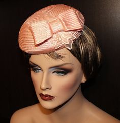 Made from high quality parasisal straw. Crown and Bow hand blocked and adorned with pink lace flower. This couture cocktail hat will turn all the heads in the room. Bow: x 2 Crown: 7 diameter Color: Candy pink Cocktail Hat, Pink Candy, Lace Flowers, Fashion Vintage, Pink Lace, Couture Fashion, Fascinator, Cocktails, Bows