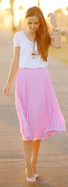 White Top Pink Skirt