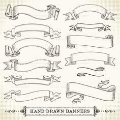 Banner disegnati a mano illustrazione royalty-free