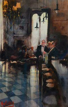Bar 62 by Alvaro-Castagnet - watercolour