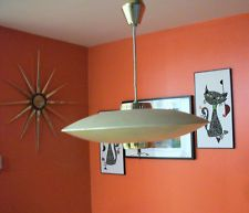 vtg retro mid century flying saucer ufo ceiling hanging pull down