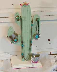 Cactus Cactus jewelry Cactus decor Wooden diy Cactus diy Home decor 7 Days of Thrift Shop Flips for National Thrift Shop Day Day 3 Wooden Cactus Wooden Crafts, Wooden Diy, Cactus Decor, Cactus Cactus, Cacti, Cactus Diys, Diy Jewelry Holder, Jewelry Stand, Shopping Day