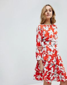 34ac35317642b Vero Moda Vintage Floral Tea Dress With Ruffle Hem Robe Vintage, Robe Asos,  Robes