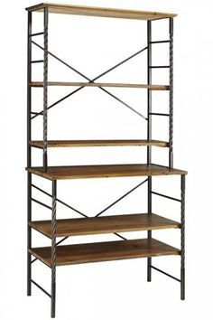Cool adjustable wood and metal bookshelf. I like that the shelves on the bottom are deeper.