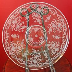 Antique Fostoria Crystal Etched Platter, Romance Pattern Large Plate with Tiny Flowers, Bows, Ribbons. Fostoria Crystal, Fostoria Glass, Ribbon Bows, Ribbons, Etched Glassware, Best Starters, Large Plates, Crystal Collection, Tiny Flowers