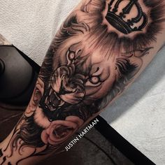 Blasted this lion on my buddy @jwfit_ 's shin today. Took it like a champ. We'll probably give it one more pass @fusion_ink