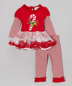 Another great find on #zulily! Rare Editions Red Candy Cane Dress & Leggings - Girls by Rare Editions #zulilyfinds