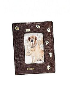 Graphic Image Personalized Leather Paw-Print Frame