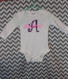 80e5e74fb Infant Onesie Personalized with Name, Glitter Vinyl, Short Sleeve Onesie by  CountryCutz on Etsy