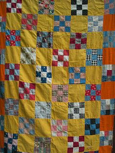 Late 19th Century Quilt Top Lots of Blue Red Set with Cheddar Orange Blocks | eBay, countrychick52