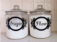 Jars - Cricut Project I already have my flour, sugar, brown sugar and candy in these jars now the lettering would be perfect!
