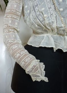 Edwardian Embroidered White Inset Lace Blouse, ca. 1908