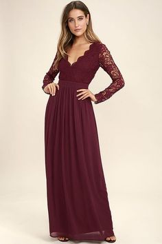 Open your eyes to a world of beautiful possibilities in the Awaken My Love Burgundy Long Sleeve Lace Maxi Dress! Crocheted lace elegantly graces the fitted bodice of this stunning dress, with V-neckline and sheer long sleeves. A sexy open back and banded, Trendy Dresses, Sexy Dresses, Nice Dresses, Long Dresses, Party Dresses, Dress Party, Formal Dresses, Awesome Dresses, Club Dresses