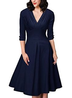 IHOT Womens Vintage Swing Dress Elegant V Neck Cocktail Casual Party Half SleeveNavy BlueMedium * See this great product. (Note:Amazon affiliate link)
