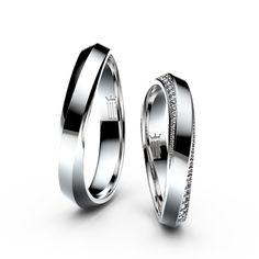 874943636 Snubní prsteny z bílého zlata s brilianty, pár - 3023 Snubní Prsteny, Zásnubní  Prsteny