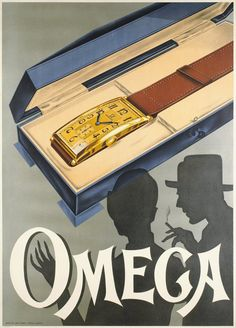 Brilliant Omega wristwatch ad featuring an oversized rectangular timepiece, circa Retro Ads, Vintage Advertisements, Vintage Ads, Poster Vintage, Vintage Prints, Armani Watches For Men, Luxury Watches For Men, Old Watches, Vintage Watches