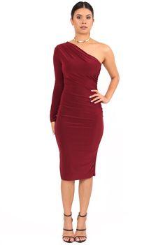 66d796eacc7ae8 One Sleeve Dress - Burgundy